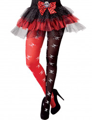Totenkopf Strumpfhose zweifarbig rot-schwarz-weiss