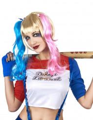 Verrückte Harlekin Perücke mit Zöpfen für Damen Kostüm-Accessoire blau-rosa-blond