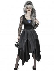 Dunkle Horror-Braut Halloween-Damenkostüm schwarz