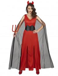 Teufelin mit Hörnern Halloween-Damenkostüm rot-schwarz