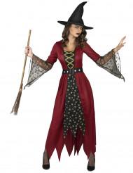Magische Hexe Zauberinnenkostüm mit Sternenmuster rot-schwarz-gold