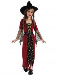 Sternen-Hexe Zauberin-Kinderkostüm rot-schwarz-gold