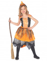 Kleine Feuerhexe Kinderkostüm orange-schwarz