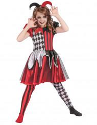 Schickes Harlekin-Kinderkostüm Halloween-Mädchenkostüm rot-weiss-schwarz