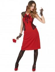 Hinreißende Vampirin Halloween-Damenkostüm rot-schwarz
