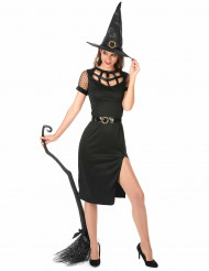Hinreißende Hexe Halloween-Damenkostüm schwarz
