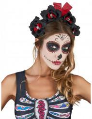Dia de los Muertos Haarreif mit Rosen und Totenköpfen schwarz-rot