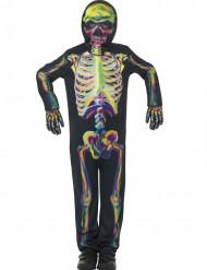 Leuchtendes Skelett-Kinderkostüm schwarz-bunt