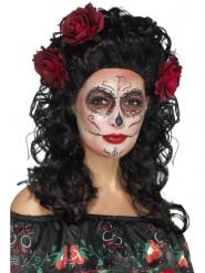 Dia de los Muertos Langhaarperücke mit Rosen schwarz-rot