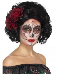Dia de los Muertos Kurzhaarperücke mit Rosen schwarz-rot