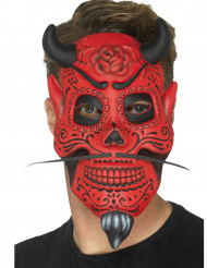 Dia de los Muertos Halloween-Maske Dämon rot-schwarz
