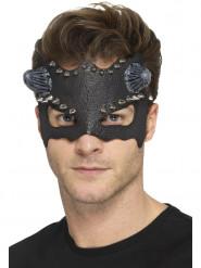 Teuflische Halloween-Augenmaske mit Hörnern und Nieten Kostüm-Accessoire schwarz-silber