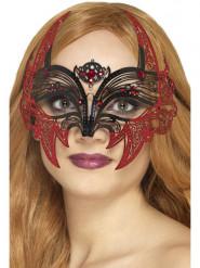 Teuflische Vampirin-Augenmaske für den Maskenball Kostüm-Accessoire für Halloween rot-schwarz