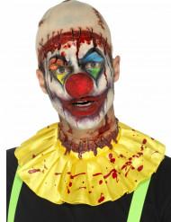 Horrorclown Halloween-Set mit Glatze und Kragen 2-teilig hautfarben-gelb