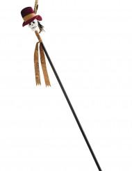 Halloween-Stab Totenkopf mit Hut braun-gold 120cm