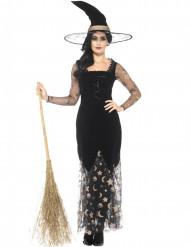 Bezaubernde Hexe Halloween-Damenkostüm mit Sternen und Monden schwarz-transparent