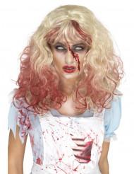 Blutgetränkte Horror-Perücke mit Locken blond-rot