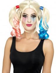 Harlekin-Zopfperücke Halloween-Accessoire blond-rosa-blau