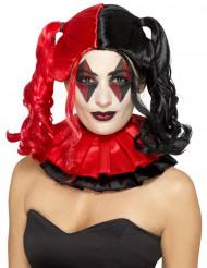 Zweifarbige Halloween-Perücke mit Zöpfen rot-schwarz