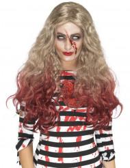 Blutige Halloween Damenperücke blond-rot