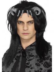 Schauriger Dämon Halloween-Perücke Kostüm-Accessoire schwarz-grau