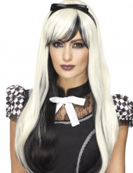 Halloween-Langhaarperücke mit Schleife für Damen blond-schwarz