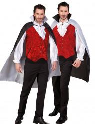 Halloween-Wendecape Vampirumhang mit Kragen schwarz-weiss