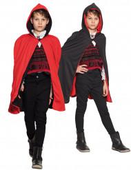Wendecape mit Kapuze Halloween-Accessoire für Kinder schwarz-rot