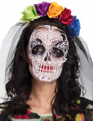 Tag der Toten Maske mit Haarreif bunt