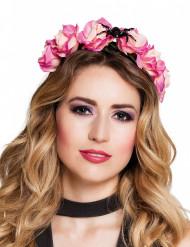 Halloween-Haarreif Rosen mit Spinne rosa-schwarz