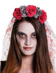 Horrorbraut Rosen-Haarreif mit Schleier rot-grau