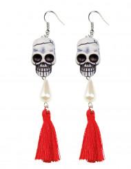 Tag der Toten Totenkopf-Ohrringe rot-weiss-schwarz