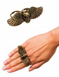 Halloween-Ring Geflügelter Totenschädel gold