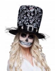 Dia de los Muertos Skelett-Zylinder Kostüm-Accessoire für Halloween schwarz-weiss