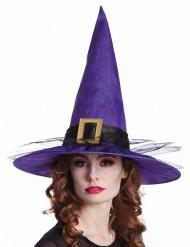 Spitzer Hexenhut mit Hutband und Tüll lila-schwarz-gold