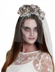 Zombie-Schleier mit Rosen und Totenschädeln