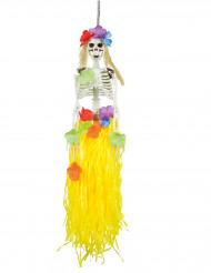Hawaii-Skelett Halloween Hängedeko weiss-bunt