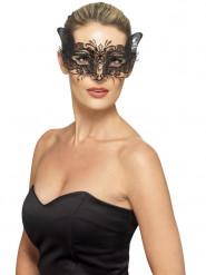 Filigrane Metall-Augenmaske Katze schwarz