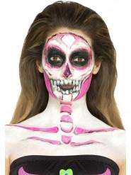 Nachtleuchtende Halloween-Schminke Skelettfrau Dia de los Muertos bunt