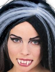 Vampir-Zähne mit Zahnkleber weiss