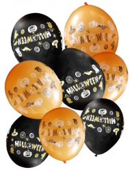Grusel Luftballons Halloween Party-Deko 8 Stück orange-schwarz 27,5cm