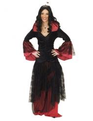 Spinnen-Königin Halloween Damenkostüm Hexe schwarz-rot
