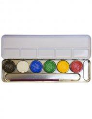6-Farben Metall-Palette Schminkfarben bunt 30g
