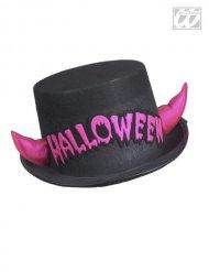 Halloween-Zylinder mit Hörnern schwarz-pink
