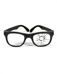 Einschussloch-Brille Scherz-Brille schwarz