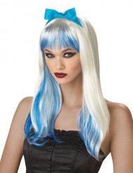 Halloween Langhaar Perücke mit Strähnen weiß-blau