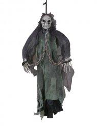 Skelett-Geist Halloween-Hängefigur schwarz-grün 50cm