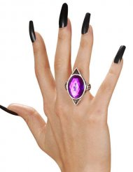 Gothic Ring mit Schmuckstein silber-lila