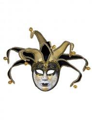 Venezianische Maske Harlekina gold-schwarz-weiss