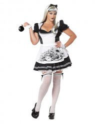 Dark Alice Halloween Damen Kostüm Übergröße schwarz-weiss